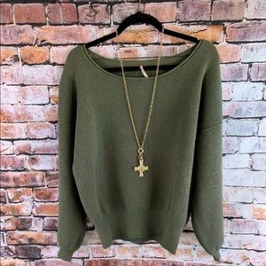 Free People Shadow Crew Neck Sweater Knit Green XS